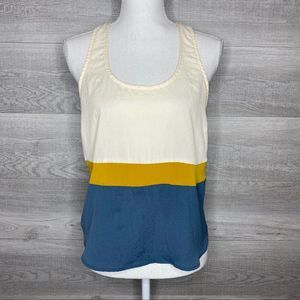 Lush Cream Yellow & Blue Tank Top Size Large